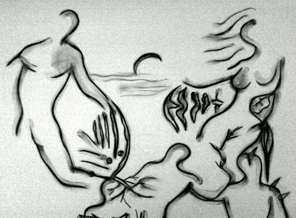Crépuscule des Hommes - Fusain sur papier 2002