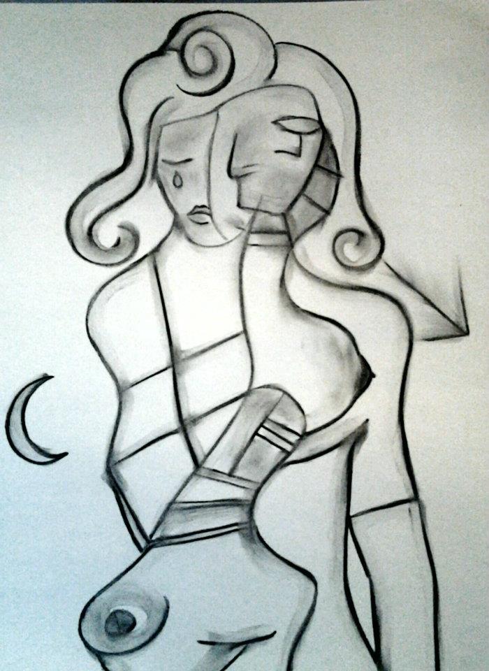 3 Femmes et demi - Fusain sur papier 2012