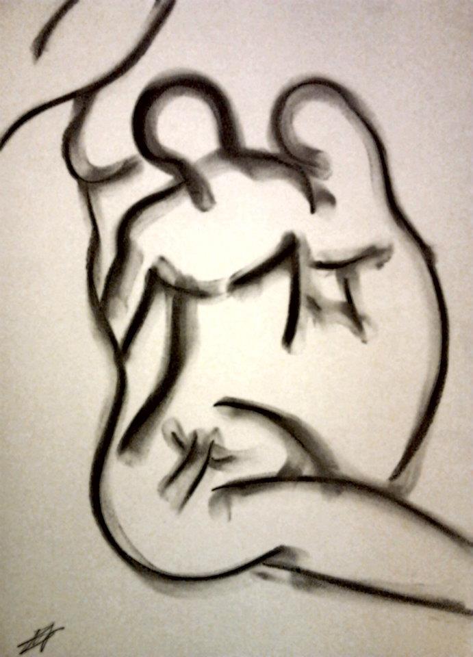 Amour Naissant - Fusain sur papier 2000