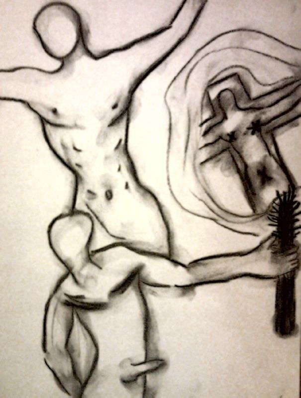 Crucifiction - Fusain sur papier 2011