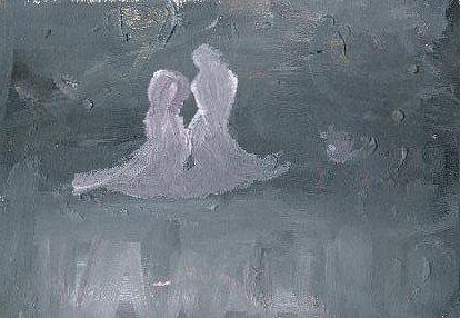 Jeune fille rencontrant la mort sur un pont - acrylique sur papier (vendu)