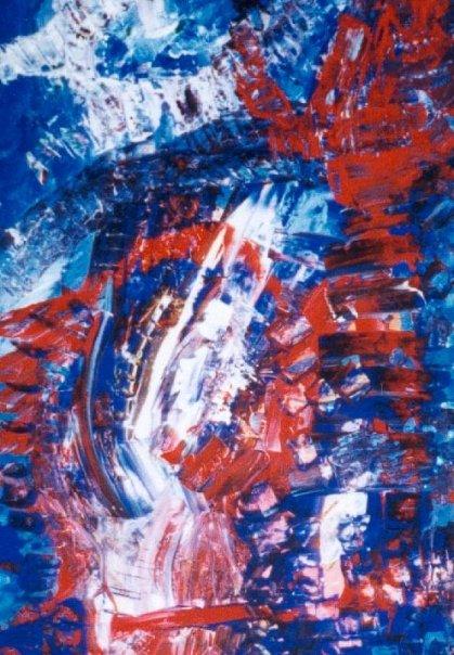 Le Salut - Acrylique sur carton 2001
