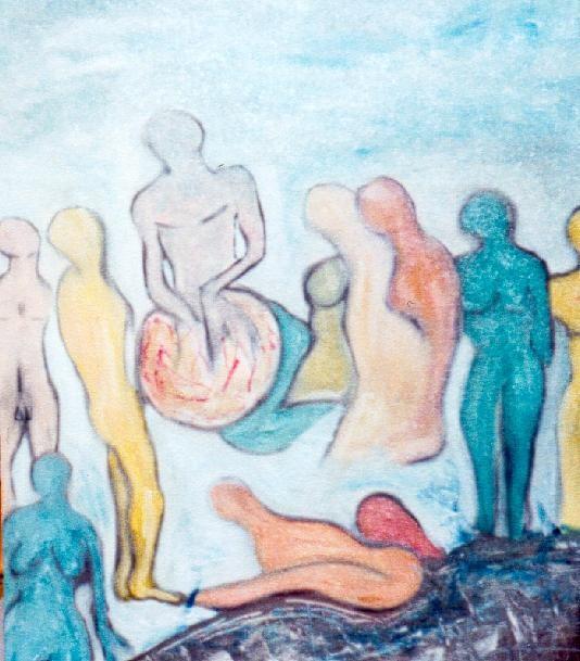 Les Contemplations scène d aube - technique mixte sur carton entoilé 2001